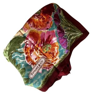 """Tiffany & Co. 34"""" Square Hand Rolled Edges Floral Silk Scarf"""