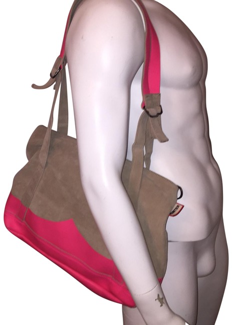 Item - Crossbody Oversized Gray / Hot Pink Suede / Leather Tote