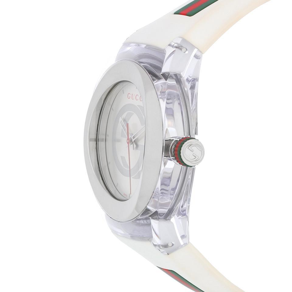 c9595d252b2 Gucci Sync XXL Silver Dial White Rubber 46mm Unisex Swiss Made YA137102  Image 4. 12345