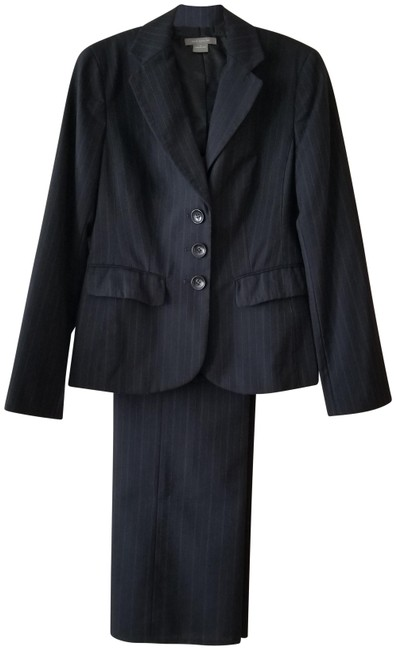 Item - Navy 3-button Pin Stripe Wool Blend Pant Suit Size 4 (S)
