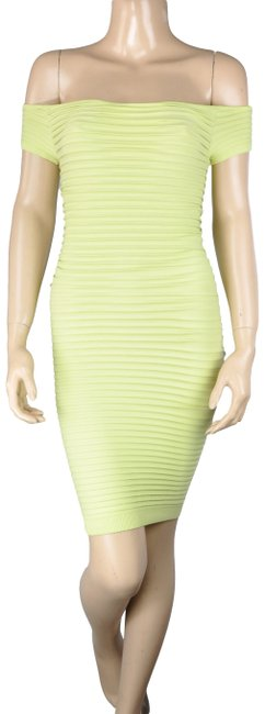 Item - Lime Bcbg Yellow Green Bandage Off The Shoulder Bodycon Short Cocktail Dress Size 4 (S)