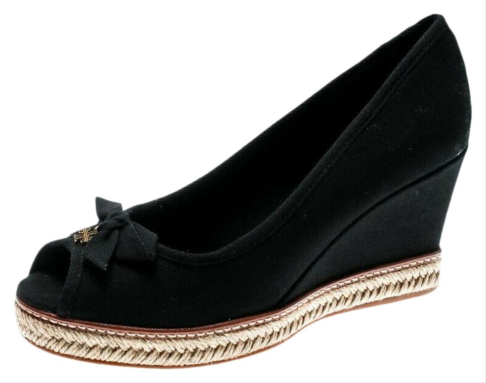670b6946885 Tory Burch Black Jackie 110 Canvas Peep Toe Bow Gold Reva Espadrilles  Wedges Size US 8.5 Regular (M, B) 50% off retail