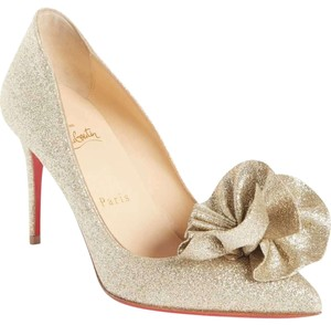 Christian Louboutin Ruffle Formal Heels Glitter Glitter Gold Pumps