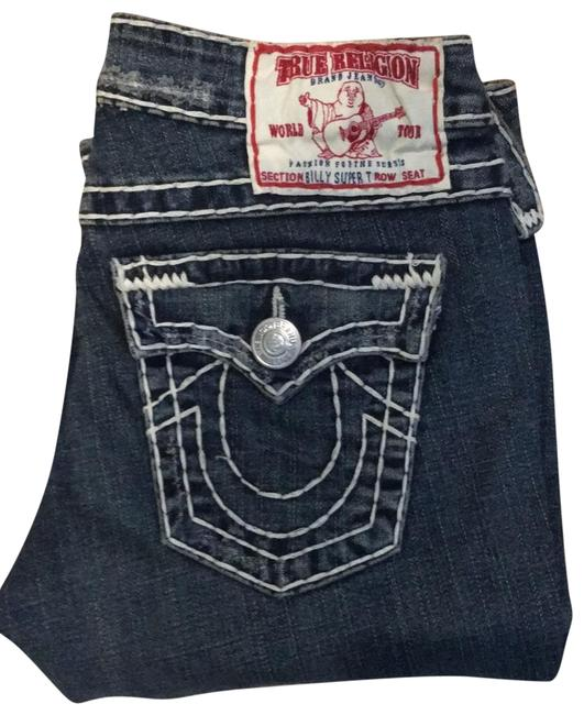 """True Religion Blue Inseam Approximately 32"""" Distressed Rn# 112790 Straight Leg Jeans Size 6 (S, 28) True Religion Blue Inseam Approximately 32"""" Distressed Rn# 112790 Straight Leg Jeans Size 6 (S, 28) Image 1"""