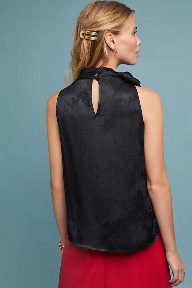 8daa59053bd Anthropologie Sleeveless Floral Pussy Bow Satin Top Black Image 2. 123
