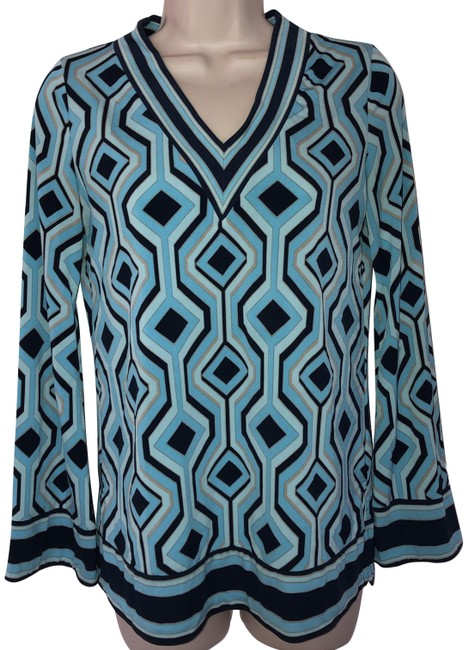 Item - Blue Colorful Print Knit /Vented Tunic Size Petite 8 (M)