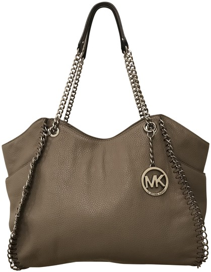 c6b106602023 Michael Kors Chelsea Large Whipped Silver Chain Zip Shoulder Taupe Mushroom  Grey Leather Tote