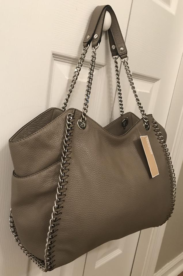 e576a3cc3acd Michael Kors Chelsea Large Whipped Silver Chain Zip Shoulder Taupe Mushroom  Grey Leather Tote - Tradesy