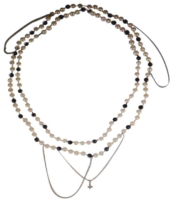 Item - Pearl and Black. Silver and Gold Chain Monogram Long Necklace