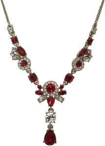 Givenchy Red Swarovski Crystal Cluster Gold Tone Chain Station Drop Necklace