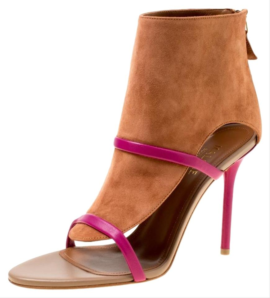 09f121ea2f57d Malone Souliers Brown Suede with Pink Leather Straps Miley Open ...
