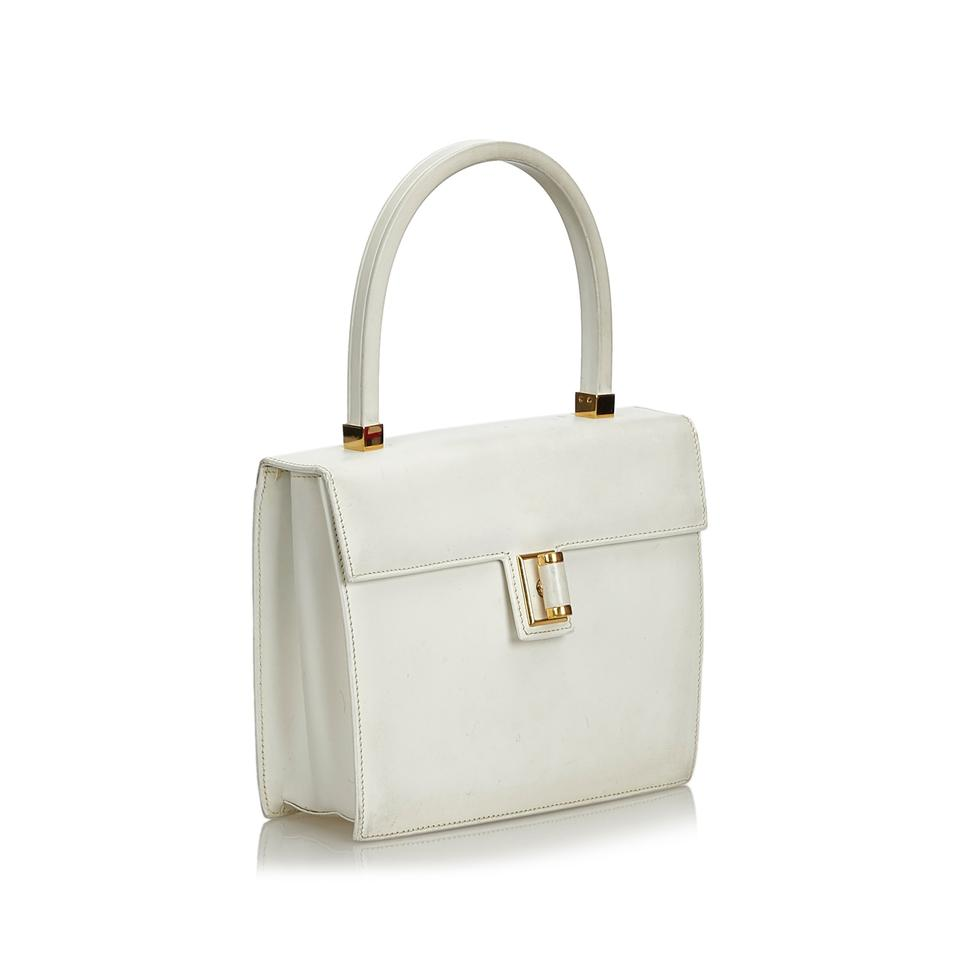 5920fd8b58ab Gucci W Vintage Handbag Italy Dust Bagbox White Leather Shoulder Bag -  Tradesy