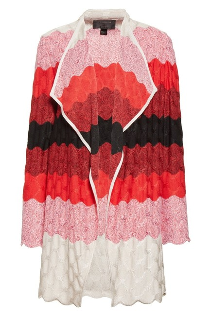 Item - Red Black Beige Ombre Collection Caviar Tikka Waves Knit Cardigan Size 16 (XL, Plus 0x)