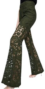 Zara Lace Floral Textured Trouser Pants Green