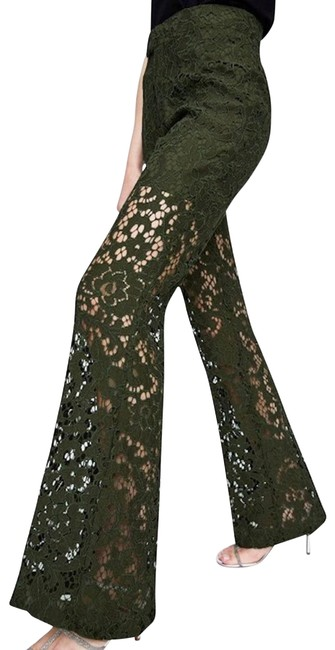 Item - Green New Floral Lace Embellished Ruffled Flared Hem Pants Size 8 (M, 29, 30)
