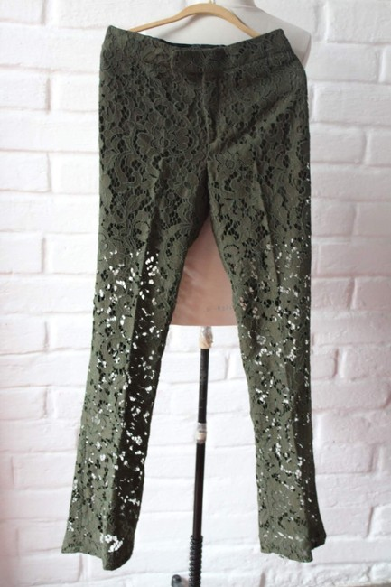 Zara Lace Floral Textured Trouser Pants Green Image 1