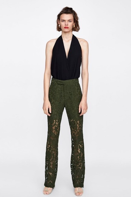 Zara Lace Floral Textured Trouser Pants Green Image 2