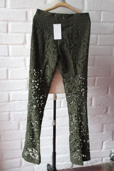 Zara Lace Floral Textured Trouser Pants Green Image 3