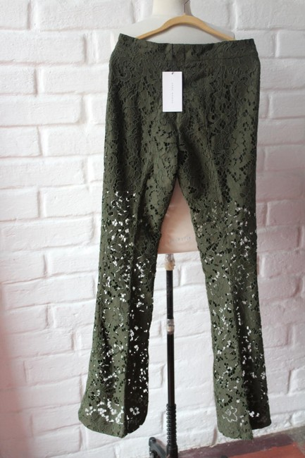 Zara Lace Floral Textured Trouser Pants Green Image 4