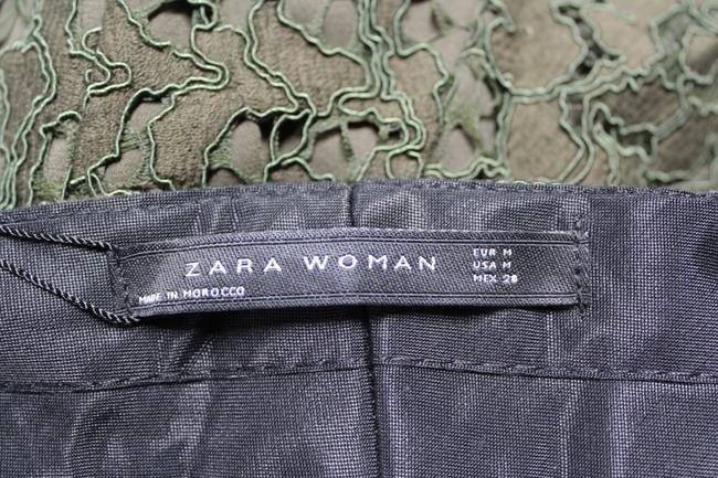 Zara Lace Floral Textured Trouser Pants Green Image 5