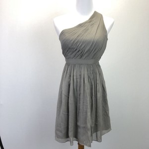 J.Crew Gray Silk Kylie One Shoulder Chiffon Feminine Bridesmaid/Mob Dress Size Petite 0 (XXS)