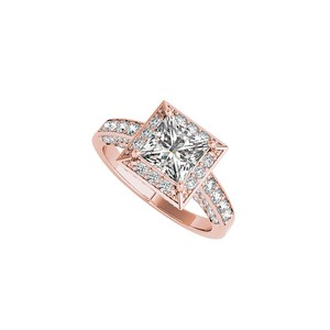 Marco B 3 ct CZ Square Halo Engagement Ring in 14K Rose Gold