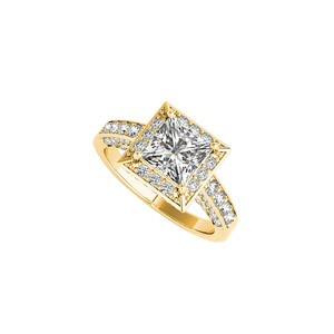 Marco B 3 ct CZ Square Halo Engagement Ring in 14K Yellow Gold