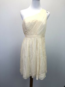 J.Crew Ivory Silk Kylie One Shoulder Chiffon Feminine Bridesmaid/Mob Dress Size Petite 8 (M)