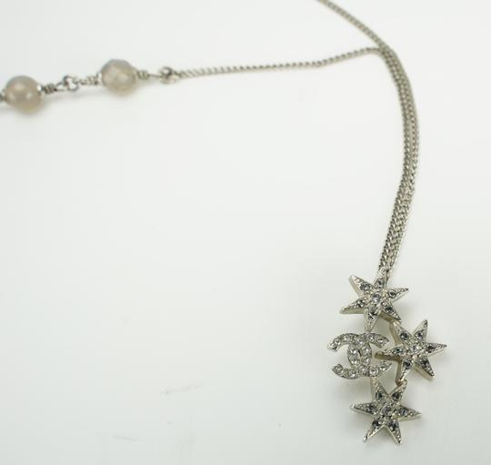Chanel CHANEL Crystal Bead CC Star Necklace Silver Image 1