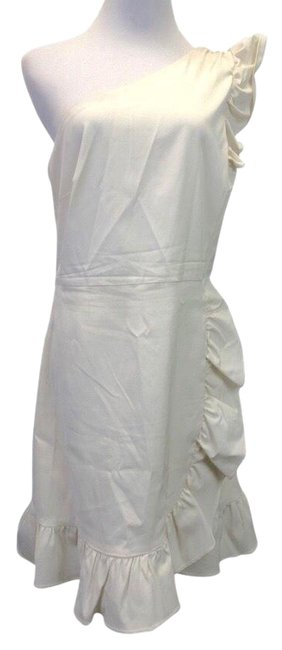 Item - Ivory One Shoulder Ruffle Mid-length Cocktail Dress Size 14 (L)