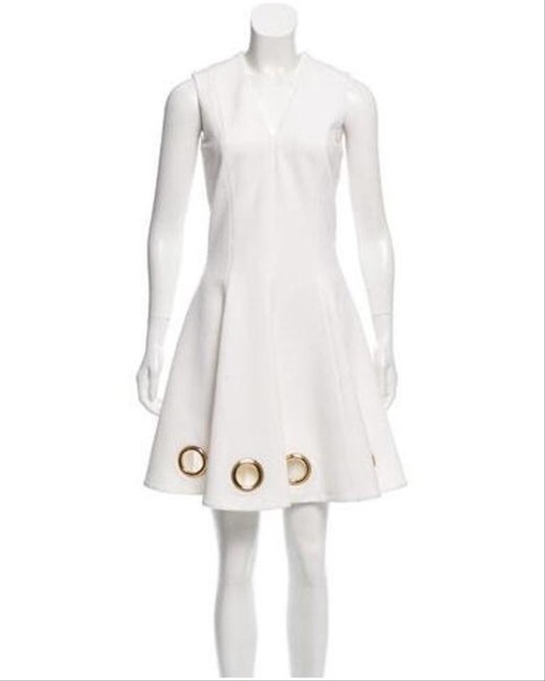 935203586707 Cushnie et Ochs White Mini Gold Grommets Short Night Out Dress Size 4 (S) -  Tradesy