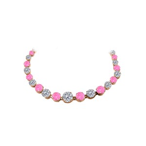 Marco B CZ Pink Sapphire Graduated Necklace Rose Gold Vermeil