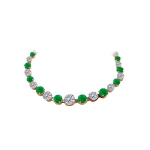 Marco B CZ Emerald Graduated Necklace in 14K Rose Gold Vermeil