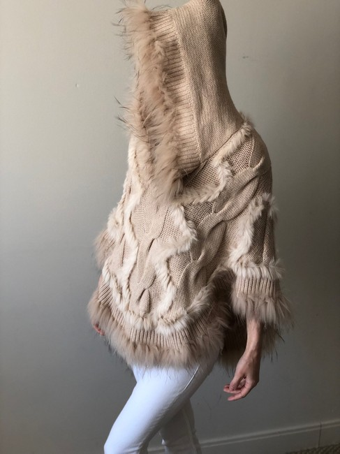 Glamourpuss 100% Cashmere and Asiatic Raccoon Fur Poncho Cape Image 3