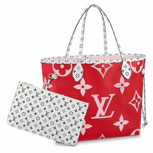 Louis Vuitton Supreme Roses Tahitienne Race Kusama Tote in Red