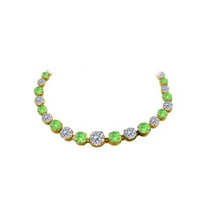Marco B CZ Peridot Graduated Necklace 18K Yellow Gold Vermeil