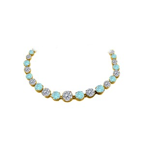 Marco B CZ Aquamarine Graduated Necklace Yellow Gold Vermeil