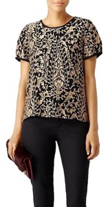 Joie Embroidery Embroidered Blouse Top Metallic Gold and Black