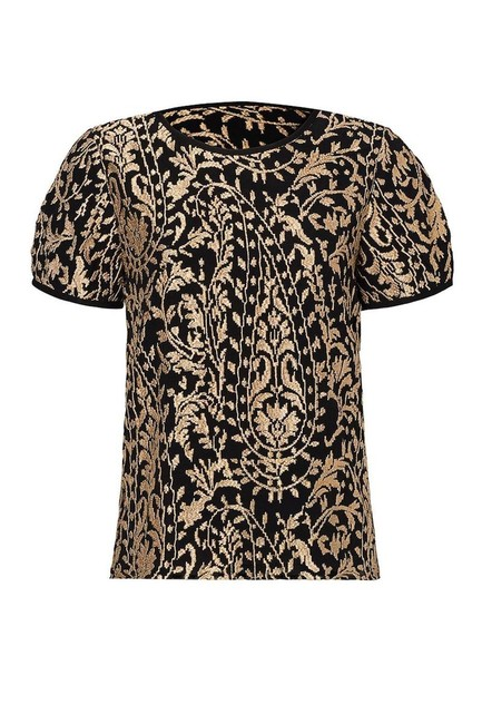 Joie Embroidery Embroidered Blouse Top Metallic Gold and Black Image 1