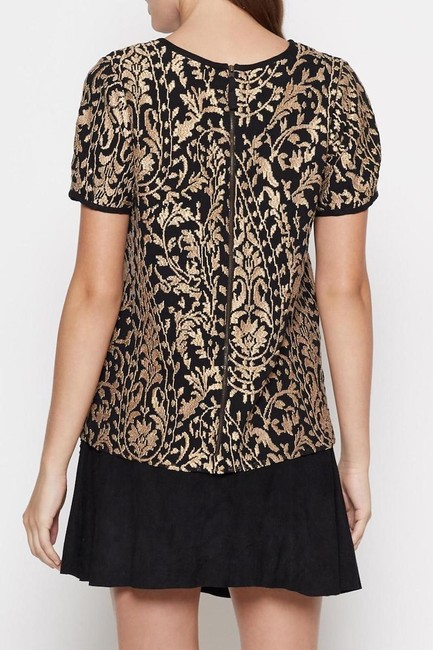 Joie Embroidery Embroidered Blouse Top Metallic Gold and Black Image 2