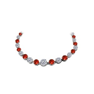 Marco B Garnet CZ Graduated Necklace in 925 Sterling Silver
