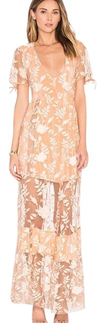 Item - Peach and White Embroidery Maxi Long Cocktail Dress Size 8 (M)