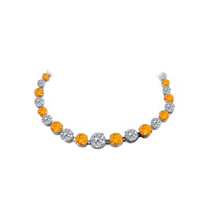 Marco B Citrine CZ Graduated Necklace in 925 Sterling Silver