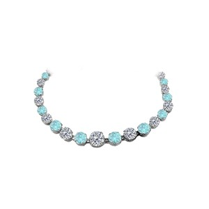Marco B Aquamarine CZ Graduated Necklace in 925 Sterling Silver