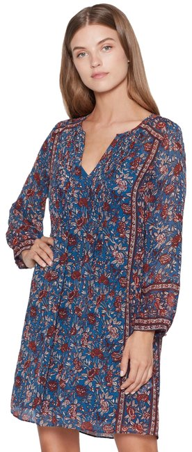 Preload https://img-static.tradesy.com/item/25128238/joie-wine-and-navy-blue-dulce-floral-print-silk-short-casual-dress-size-4-s-0-1-650-650.jpg