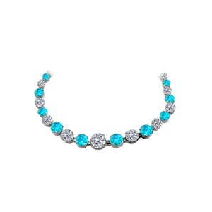 Marco B Blue Topaz CZ Graduated Necklace 925 Sterling Silver