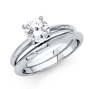 Top Gold & Diamond Jewelry 1CT 4-Prong Round-Cut Knife-Edge CZ Engagement Ring Set in 14K White