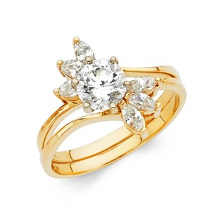 Top Gold & Diamond Jewelry 1-CT Round & Marquise-Cut CZ Wedding Ring Set in 14K White Gold