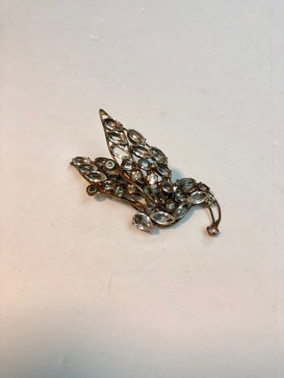 Vogue Vintage Early Vogue Sterling Glass Rhinestone Dress Fur clip Image 1