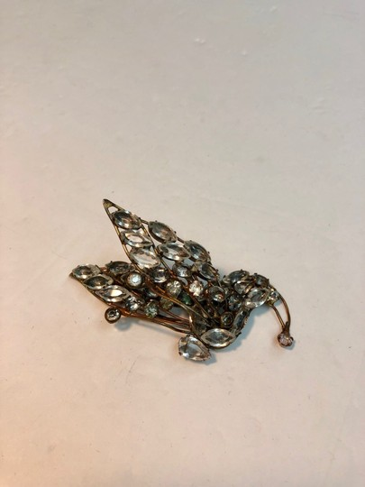 Vogue Vintage Early Vogue Sterling Glass Rhinestone Dress Fur clip Image 2